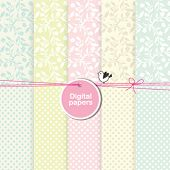 stock photo of paper craft  - Scrapbook paper Floral backgrounds for invitations - JPG