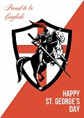 Proud To Be English Happy St George Day Retro Poster