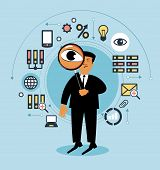 Cartoon man with a magnifying glass and business icons. People examines something . Man searching, B