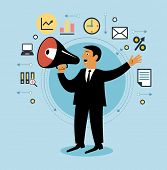 Cartoon man with megaphone and business icons. Giving an announcement. People is using a speaker. Pe