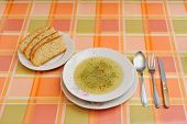 Soup on retro tablecloth