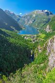 View To Geiranger Fjord And Eagle Road, Norway, Europe