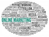 Online marketing concept in word tag cloud on white