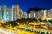 picture of public housing  - Public housing in Hong Kong at night - JPG