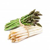 image of bundle  - Bundle of green and white Asparagus isolated on white background - JPG