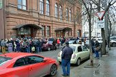 KRASNODAR, RUSSIA - FEBRUARY 11, 2014: Hundreds wait in the line for spectator pass to the XXII Wint