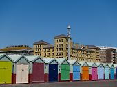 Beach huts in a row.
