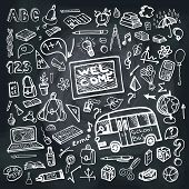 stock photo of sketch book  - Back to School Supplies Sketchy chalkboard Doodles with  Swirls - JPG