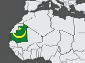 Map of worlds. Mauritania. 3d