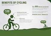 Info Graphic Benefits Of Cycling With A Pixel Diamond Texture.