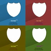 Color set Shield protection. Flat modern web button with long shadow and space for your text.