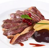 image of duck breast  - Duck breast in wine sauce close up