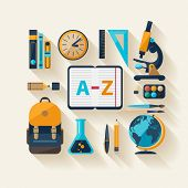 School workspace. Modern flat design.
