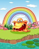 Illustration of a scary monster at the pond and a rainbow in the sky