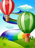 Illustration of the floating balloons with kids