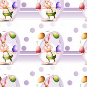 Illustration of a seamless design with a bunny and Easter eggs on a white background