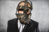 dangerous business man with iron mask and expressions