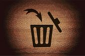 Trash bin. Flat modern web button and space for your text.
