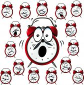 Alarm Clock Cartoon With Many Facial Expressions