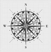 stock photo of longitude  - Compass rose over drawing grid - JPG