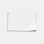 Vector paper sheet on transparent background. Curled corner paper sheet. Vector illustation