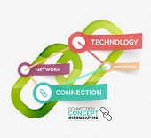 Vector connection concept infographics with keywords on stickers connected to each other
