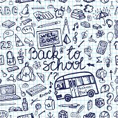 Back to School Supplies Sketchy Notebook.Seamless pattern