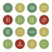 Media player web icons, vintage color