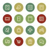 Home appliances web icons, vintage color