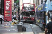 Wrecked buses on Duffy Square