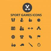 sport, games, fitness icons, signs, objects set, vector