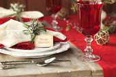 Selective Focus Christmas Dining Scene On Rustic Table