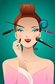 Applying Makeup On A Woman Head