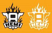 V8 Hemi engine emblem with flames and grunge option