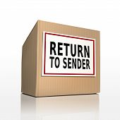 The Words Return To Sender On A Paper Box