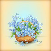 Vector Wicker Basket with Flowers