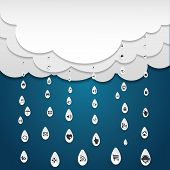 Cloud computing with icon in rain drops