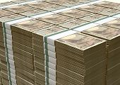 picture of yen  - A pile of stacked wads of japanese yen banknotes on an isolated background - JPG