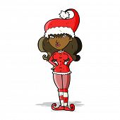 cartoon santa's helper woman