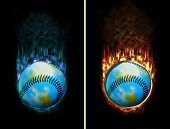 Ice Fire Baseball Button