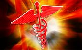 foto of sceptre  - Digital illustration of medical symbol in colour background - JPG