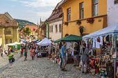 Crowded Street, Sighisoara, Romania