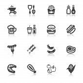 Barbecue Flat Icons With Reflection