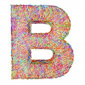 Alphabet Symbol Letter B Composed Of Colorful Striplines