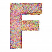 Alphabet Symbol Letter F Composed Of Colorful Striplines