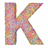 Alphabet Symbol Letter K Composed Of Colorful Striplines