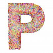 Alphabet Symbol Letter P Composed Of Colorful Striplines