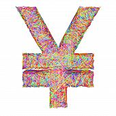 Yen Sign Composed Of Colorful Striplines Isolated On White