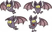 Cartoon bat in different poses. Vector clip art illustration with simple gradients. Each on a separa