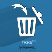 Trash bin. Flat modern web button with long shadow and space for your text.